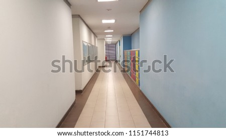 Office hallway toward elevators #1151744813