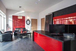 Office in black and red colors, interior