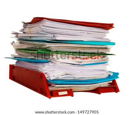 Office in-tray aka in tray with documents, bureaucracy, isolated on white background