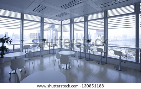 Office indoor against Oriental pearl tower,which is shanghai finance center area
