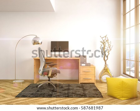 Office interior. 3D illustration #587681987