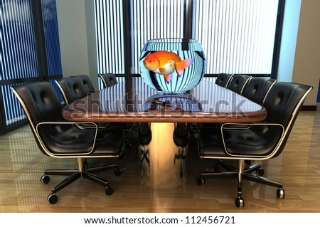 Office interior with an aquarium on the table.