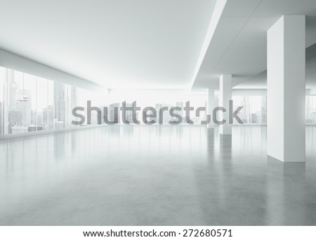 Office interior with large windows . 3d render