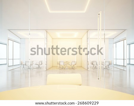 Office interior with meeting rooms 3D rendering