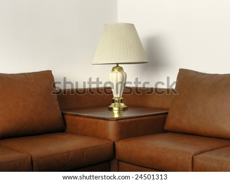 Office leather sofa with desk lamp