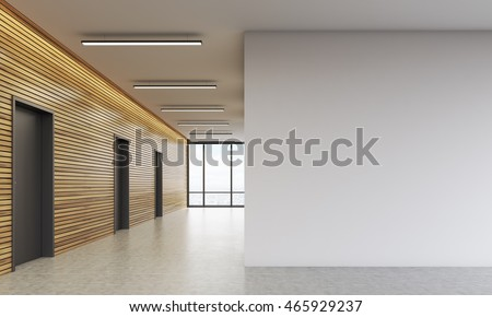 Office lobby interior with wooden walls and large white space. Concept of business building. 3d rendering. Mock up