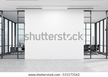 Office lobby. Large white wall is in the middle with two conference rooms by both sides. 3d rendering. Mock up