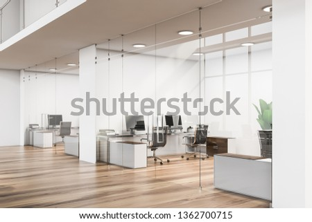 Office lobby with white walls, wooden floor, glass doors and small rooms with black computer tables. Business center concept. 3d rendering