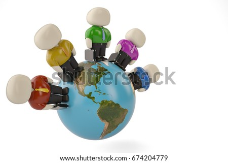 Office man characters on globe 3d illustration. #674204779