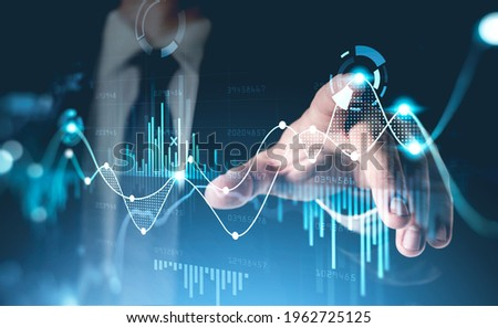 Office man finger touch hud, virtual screen with stock market changes, business candlesticks graph chart. Double exposure of blue and white lines, growing numbers, online trading