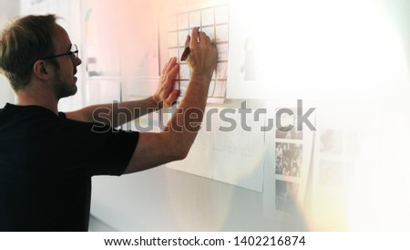 Office manager brainstorming on a project