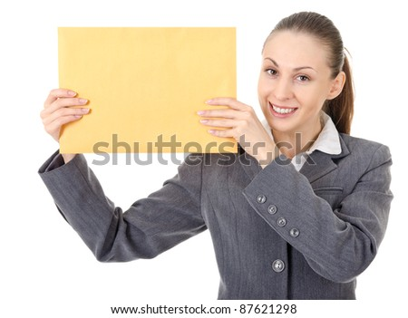 office manager holding a large brown envelope