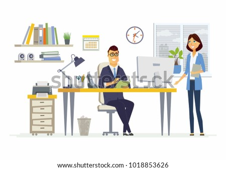 Office Meeting - illustration of a business situation. Cartoon people characters of young female, male colleagues, partners discussing work. Manager, supervisor, secretary, subordinate talking