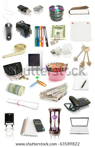 office objects collection isolated on white