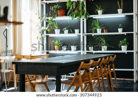 Office or cafe room in modern simple style with wooden furniture and plants