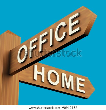 Office Or Home Directions On A Wooden Signpost