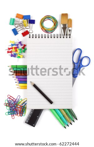 Office or student stationary supplies with blank spiral notebook copy space for message, maybe back to school etc