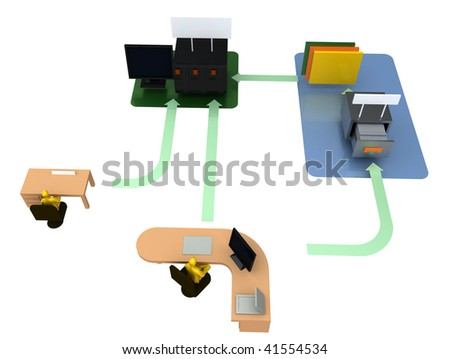 Office organization - Computer server storage workflow and structure diagram / illustration