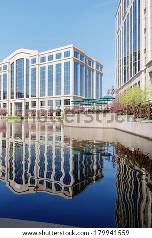 Office Park with Reflection on Lake
