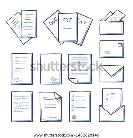 Office pdf and doc, txt files isolated icons monochrome outline set raster. Massages and correspondence, letters with blanks and votes with signature