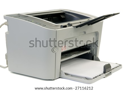 Office printer of grey color on a white background
