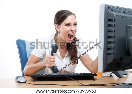 Office rage series - businesswoman received bad news over the phone and is screaming in rage.