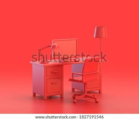 office room with desk, computer and chair in red background, monochrome single color red 3d Icon, 3d rendering