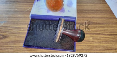 Office rubber stamps and seel background table ima Stock fotó ©