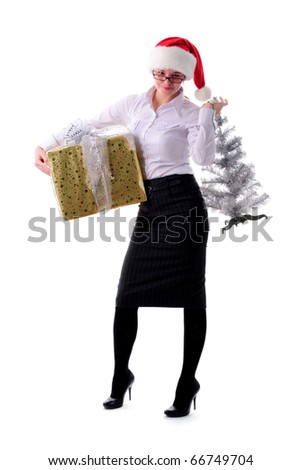 Office santa girl with present isolated on white