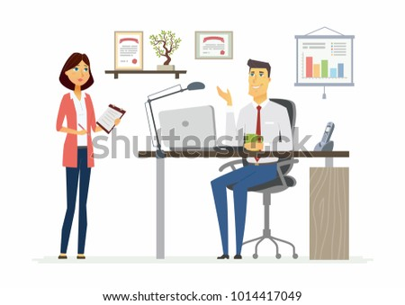 Office Scene - illustration of a business situation. Cartoon people characters of young female, male colleagues at work. Manager, supervisor, secretary, subordinate discuss process, giving task