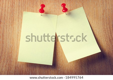 Office stickers on wooden background