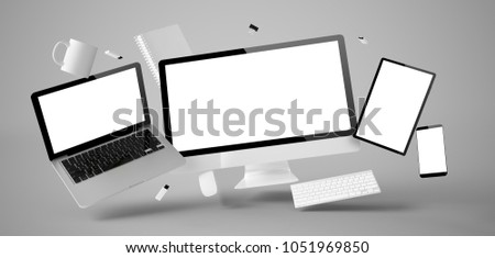 office stuff and devices floating isolated 3d rendering