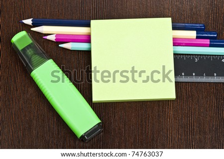 Office supplies and empty post-it