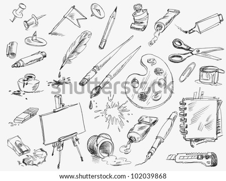 Office supplies. Hand-drawn. Raster version of vector image