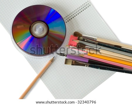 office supplies on squared sheet of a copybook