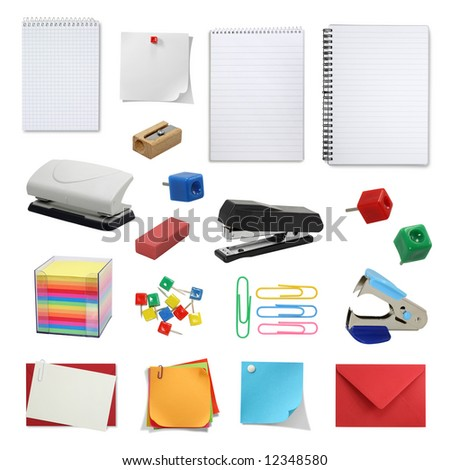 office supply collection isolated on white background - stock photo