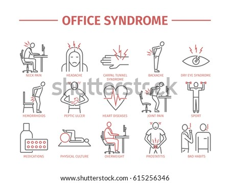 Office syndrome infographic. Symptoms and causes. Line icons set.