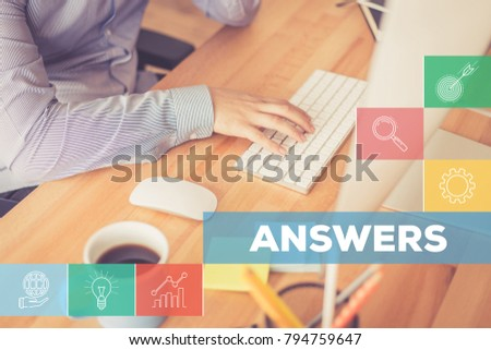 Office Table and Answers Concept #794759647