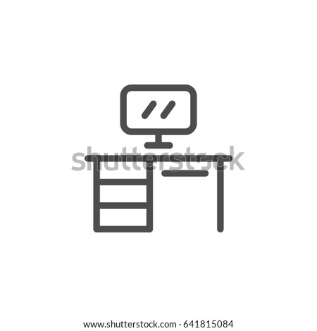 Office table line icon isolated on white
