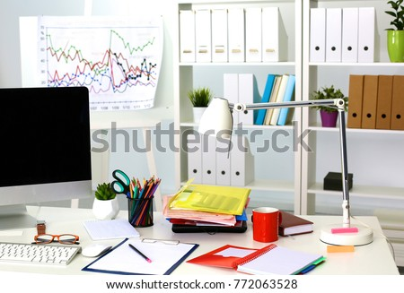 Office table with blank notepad and laptop #772063528