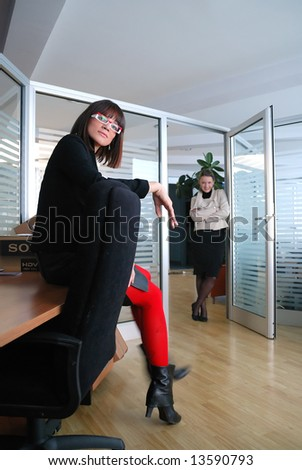 office time with team of two  businesswoman