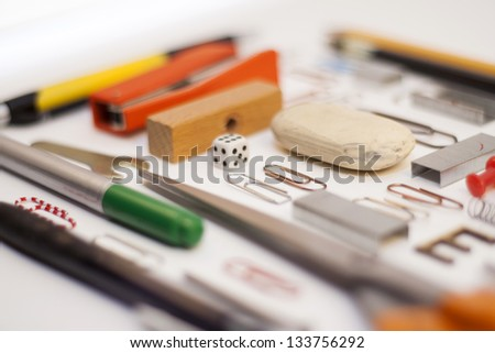 Office tools isolated on white