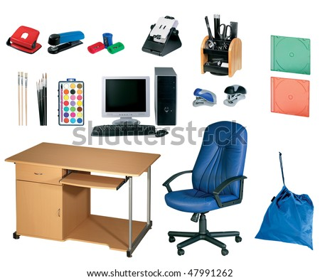 office tools, stationery set isolated on white background