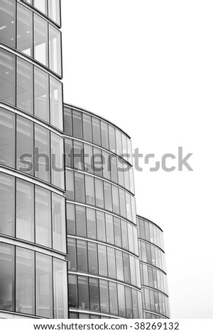 Office towers on white