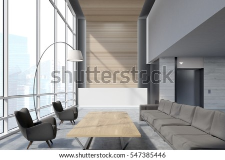 Office waiting area with sofas, armchairs, large wooden table and a reception counter. An elevator is seen in the background. 3d rendering. Mock up