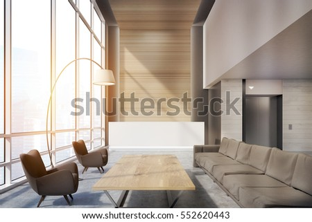 Office waiting area with sofas, armchairs, large wooden table and a reception counter. An elevator is seen in the background. 3d rendering. Mock up. Toned image