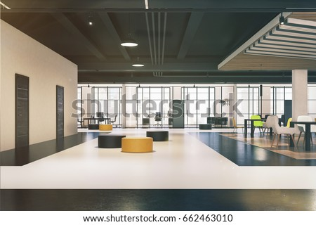 Office waiting area with yellow and black round pouffes, panoramic windows and a small canteen. 3d rendering toned image