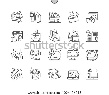 Office Well-crafted Pixel Perfect Vector Thin Line Icons 30 2x Grid for Web Graphics and Apps. Simple Minimal Pictogram