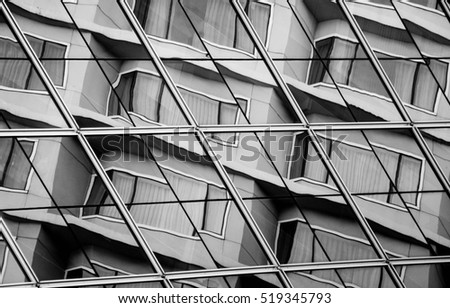 Office windows with reflection of window - Shutterstock ID 519345793