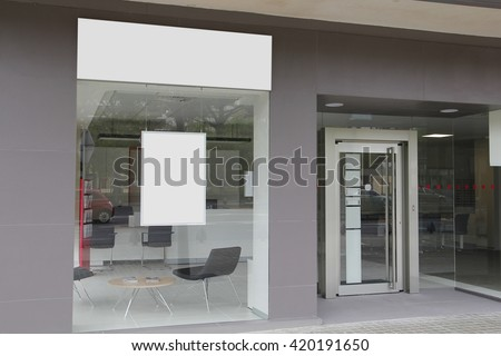 Office with blank showcase, hanging billboard Foto d'archivio ©
